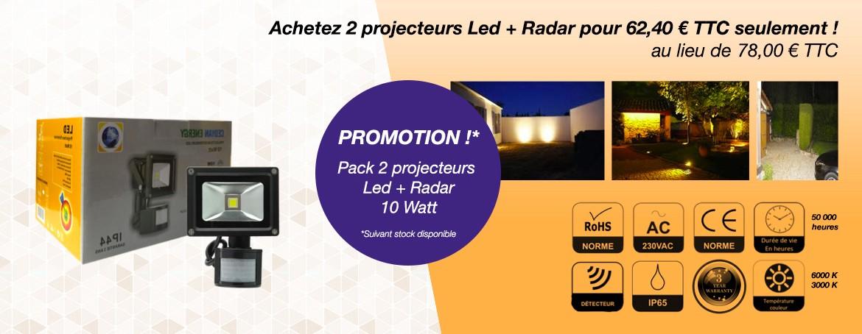 Achetez 2 projecteurs Led + Radar pour 62.40 euro TTC seulement