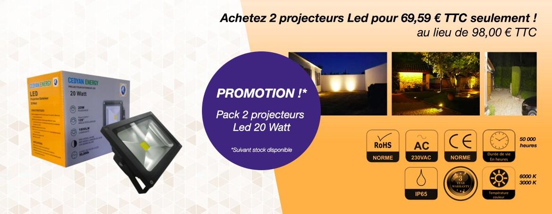 Achetez 2 projecteurs Led pour 69.59 euro TTC seulement