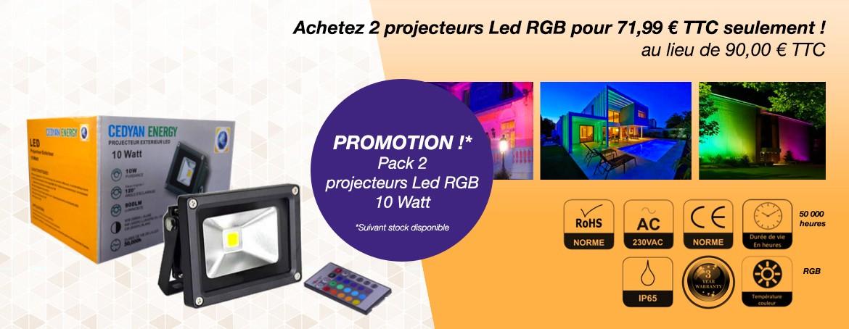 Achetez 2 projecteurs Led RGB pour 71.99 euro TTC seulement